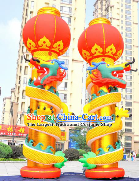 Large Chinese Moving Inflatable Dragon Golden Pillar Product Models New Year Inflatable Arches