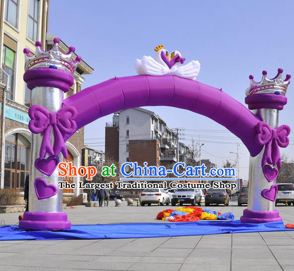 Large Christmas Day New Year Inflatable Purple Bowknot Models Inflatable Arches Archway
