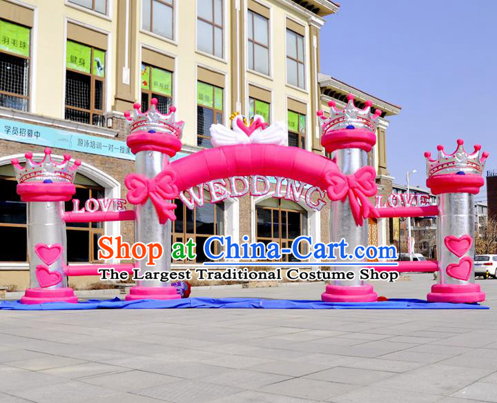 Large Christmas Day New Year Inflatable Models Wedding Pink Bowknot Inflatable Arches Archway