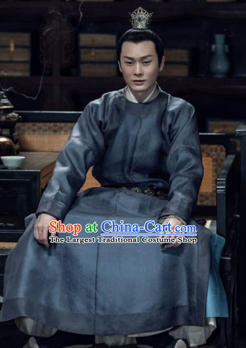 Chinese Ancient Song Dynasty Prince of Zhao Xiao Dingkai Drama Royal Nirvana Replica Costumes and Headpiece Complete Set