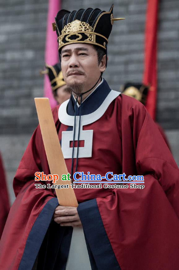 Chinese Ancient Song Dynasty Minister of Justice Drama Royal Nirvana Zhang Luzheng Replica Costumes and Hat Complete Set