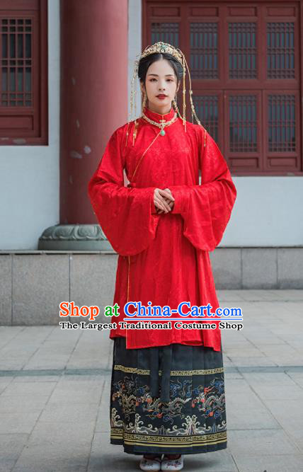 Chinese Drama Ancient Nobility Lady Red Blouse and Black Skirt Traditional Ming Dynasty Court Costumes for Women