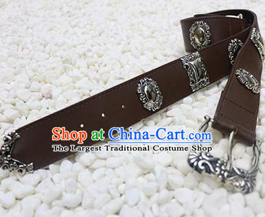 Chinese Cosplay Swordsman Brown Leather Belt Ancient Tang Dynasty Waistband for Men