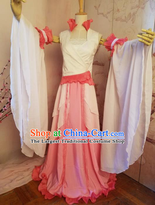 Top Grade Chinese Cosplay Fairy Princess Pink Dress Ancient Female Swordsman Costume for Women