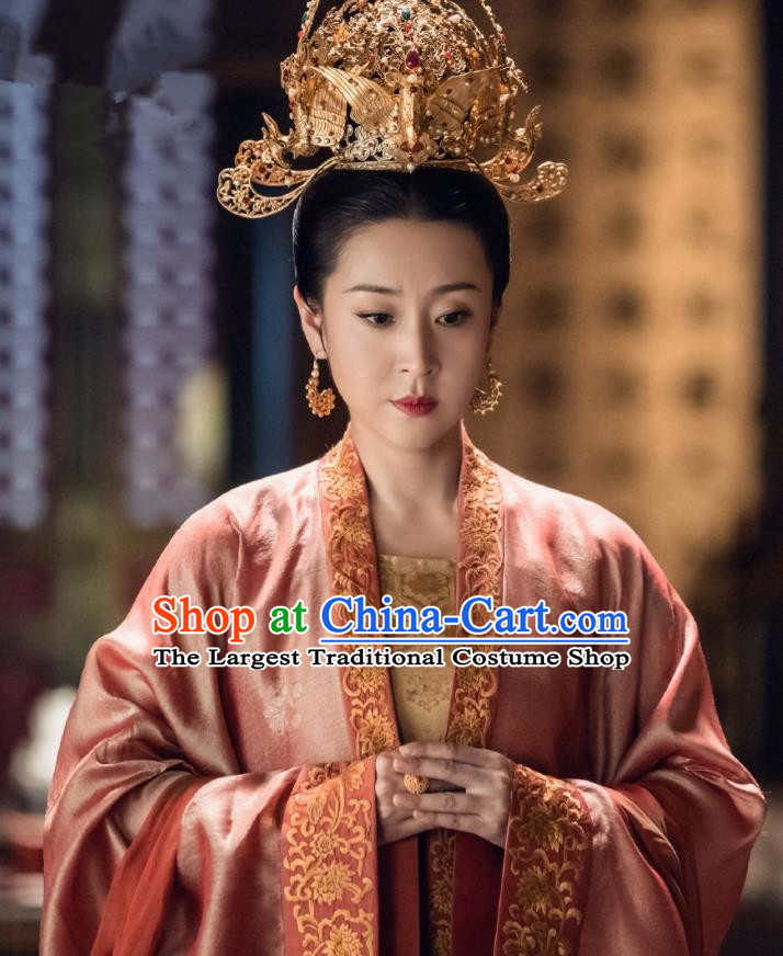 Traditional Chinese Song Dynasty Senior Concubine Dress Ancient Drama Royal Nirvana Noble Consort Zhao Costume and Headpiece for Women