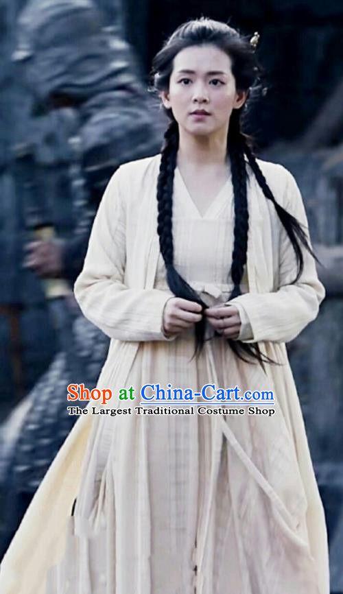 Chinese Ancient Female Civilian Drama Novoland Eagle Flag Xiao Zhou Replica Costumes and Headpiece for Women