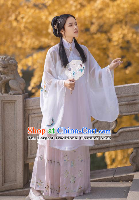 Chinese Ancient Nobility Female Costumes Traditional Ming Dynasty Hanfu Young Lady Apparels White Blouse and Skirt Full Set