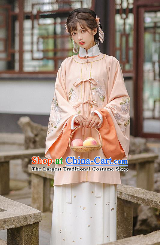 Chinese Ming Dynasty Historical Costumes Traditional Hanfu Apparels Ancient Patrician Lady Pink Gown and Skirt Complete Set