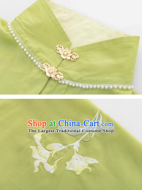 Chinese Ancient Young Lady Green Long Gown and Skirt Ming Dynasty Nobility Female Historical Costumes Traditional Hanfu Apparels Full Set