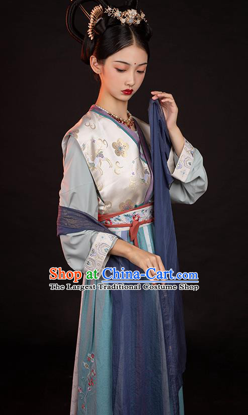 Chinese Ancient Court Lady Top Blouse and Skirt Traditional Tang Dynasty Palace Historical Costumes Hanfu Hu Xuan Dance Apparels Full Set