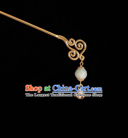 Chinese Ancient Princess Golden Bell Hairpins Hair Accessories Handmade Cheongsam Carving Lotus White Jade Hair Stick