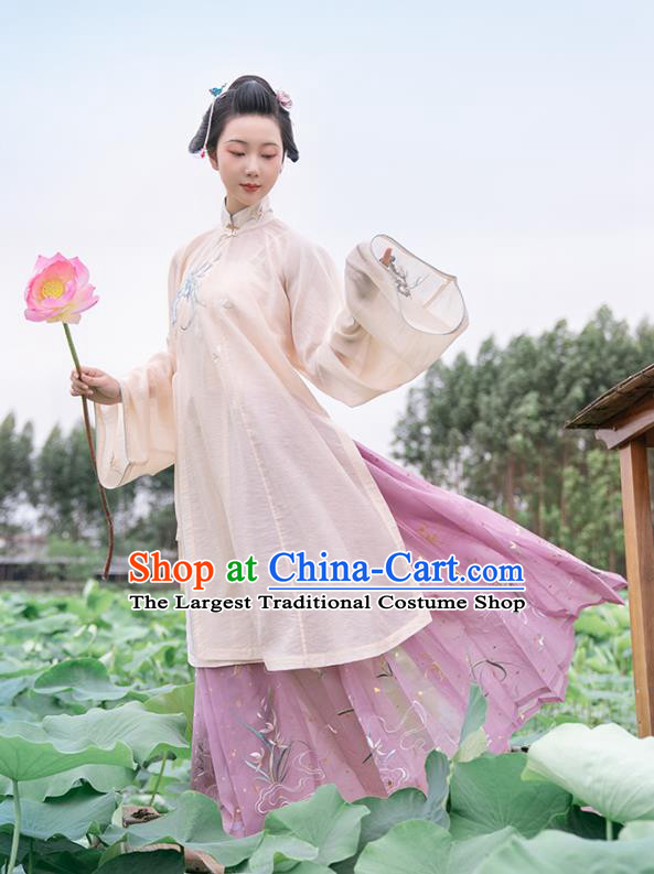 Chinese Ancient Ming Dynasty Patrician Lady Historical Costumes Traditional Hanfu Dress Embroidered Orchids Gown and Skirt Full Set