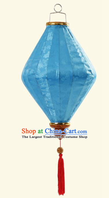 Handmade Chinese Classical Floral Scroll Pattern Blue Silk Palace Lanterns Traditional New Year Decoration Lantern Spring Festival Lamp