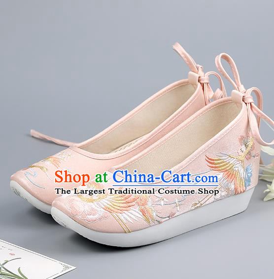 China Ancient Court Shoes Ming Dynasty Princess Shoes Embroidered Shoes Traditional Hanfu Pink Shoes