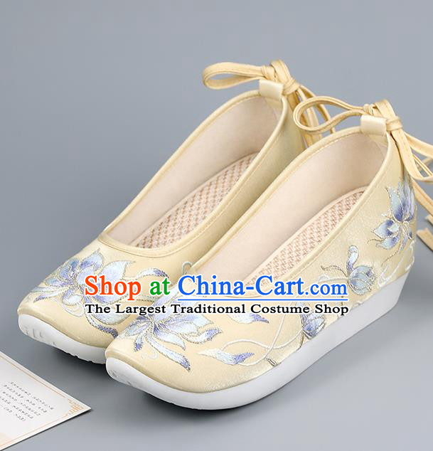 China Ming Dynasty Princess Shoes Ancient Court Shoes Embroidered Epiphyllum Yellow Shoes Traditional Hanfu Shoes