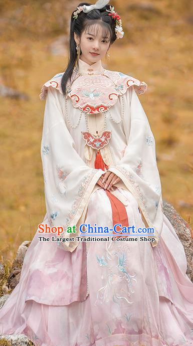 China Ming Dynasty Court Princess Costumes Ancient Hanfu Clothing Embroidered Long Gown and Skirt for Noble Lady
