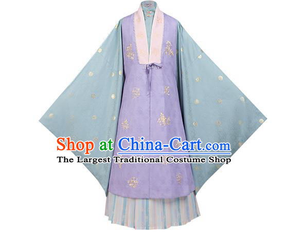 Ancient Hanfu Clothing China Ming Dynasty Court Princess Costumes Embroidered Purple Vest Long Gown and Skirt Complete Set