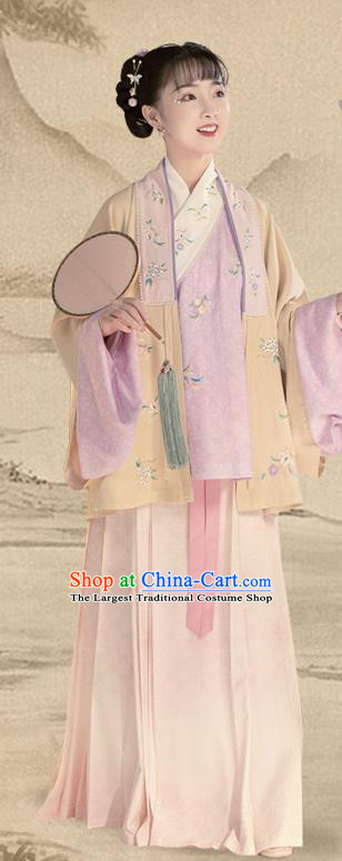 China Ancient Apparels Ming Dynasty Patrician Lady Hanfu Clothing Nobility Infanta Embroidered Costumes