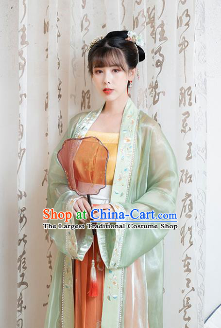 Chinese Song Dynasty Noble Lady Historical Costumes Traditional Ancient Hanfu Apparels Embroidered BeiZi Blouse and Skirt
