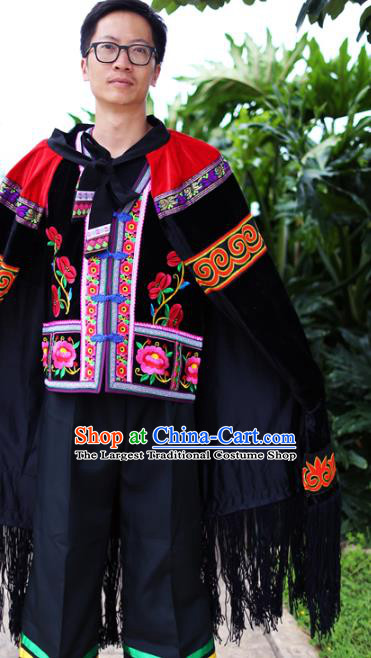 Chinese Liangshan Yi Nationality Embroidered Cape Quality Ethnic Men Costumes Black Cloak