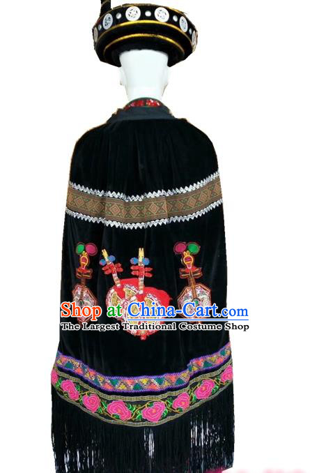Chinese Yi Nationality Black Cloak Quality Ethnic Folk Dance Embroidered Cape for Men