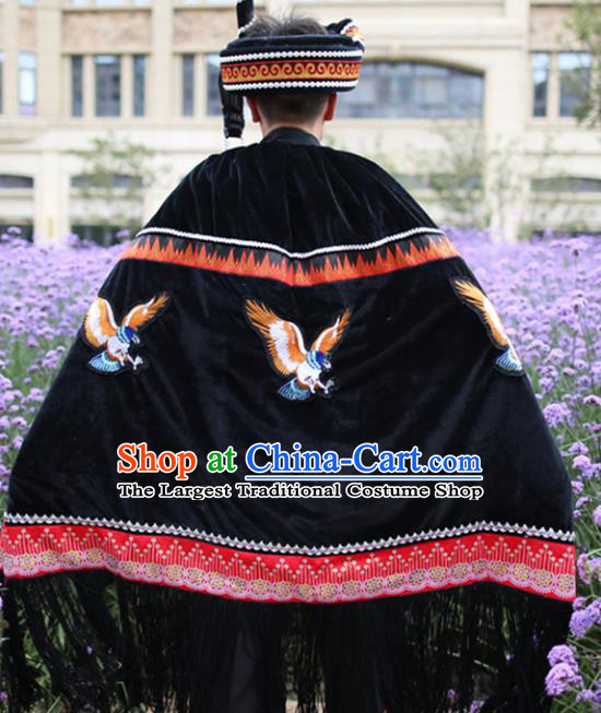 Chinese Yi Nationality Embroidered Eagle Cape Quality Ethnic Costumes Torch Festival Men Cloak
