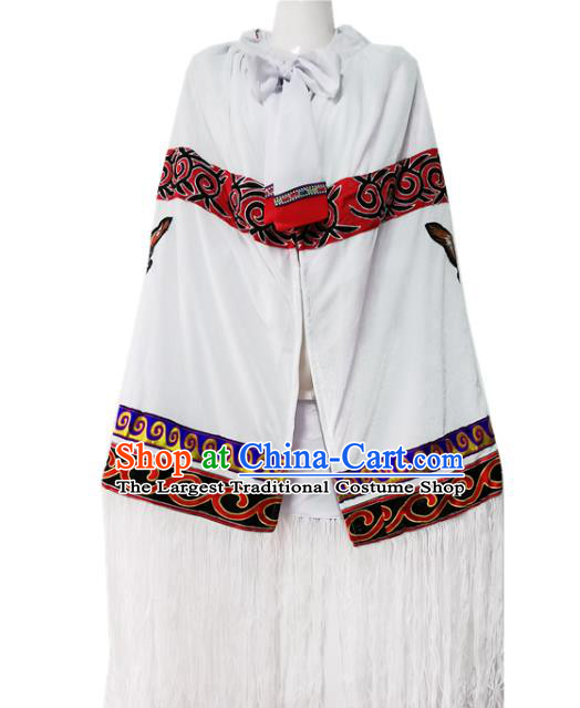 Chinese Quality Ethnic Costumes Torch Festival Men Cloak Yi Nationality Embroidered Eagle White Cape