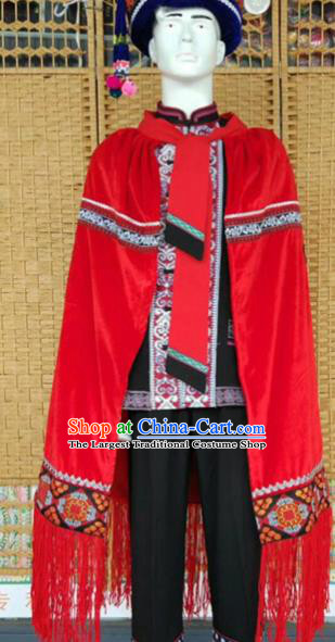 Chinese Ethnic Men Costumes Quality Torch Festival Cloak Yi Nationality Embroidered Eagle Red Cape