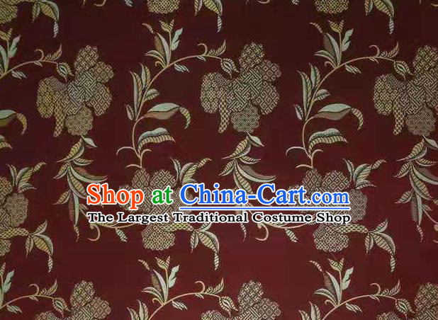 Chinese Classical Flowers Pattern Design Purplish Red Song Brocade Fabric Asian Traditional Silk Material