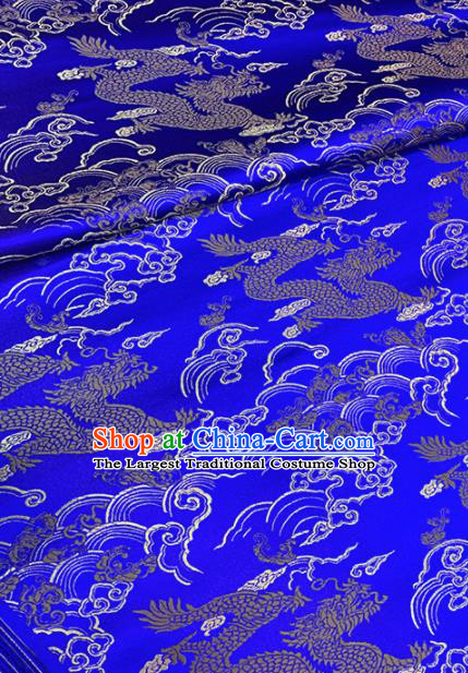 Chinese Classical Cloud Dragon Pattern Design Royalblue Brocade Fabric Asian Traditional Satin Tang Suit Silk Material