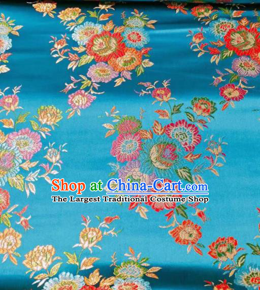 Chinese Classical Royal Flowers Pattern Design Blue Brocade Fabric Asian Traditional Satin Tang Suit Silk Material