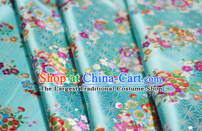 Chinese Classical Flowers Bouquet Pattern Design Blue Brocade Fabric Asian Traditional Satin Silk Material