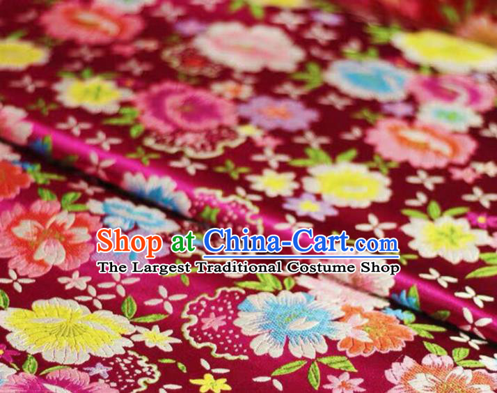 Chinese Classical Beautiful Flowers Pattern Design Rosy Brocade Fabric Asian Traditional Satin Silk Material