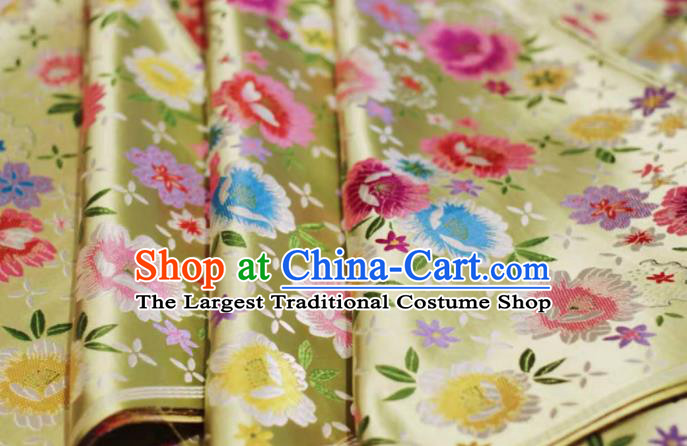 Chinese Classical Beautiful Flowers Pattern Design Golden Brocade Fabric Asian Traditional Satin Silk Material