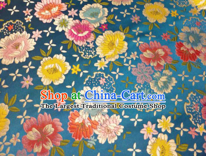 Chinese Classical Beautiful Flowers Pattern Design Lake Blue Brocade Fabric Asian Traditional Satin Silk Material