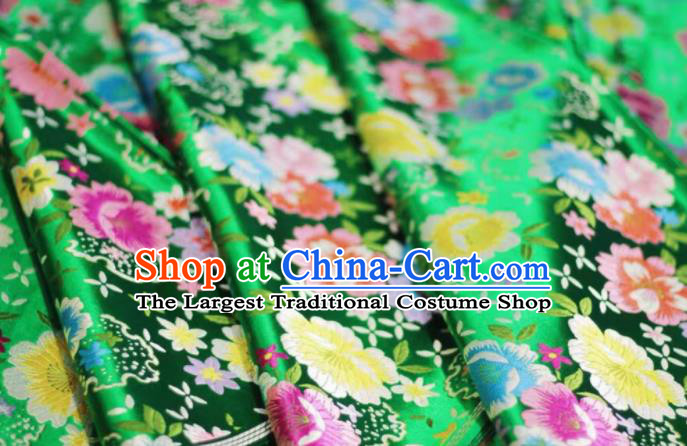 Chinese Classical Beautiful Flowers Pattern Design Green Brocade Fabric Asian Traditional Satin Silk Material