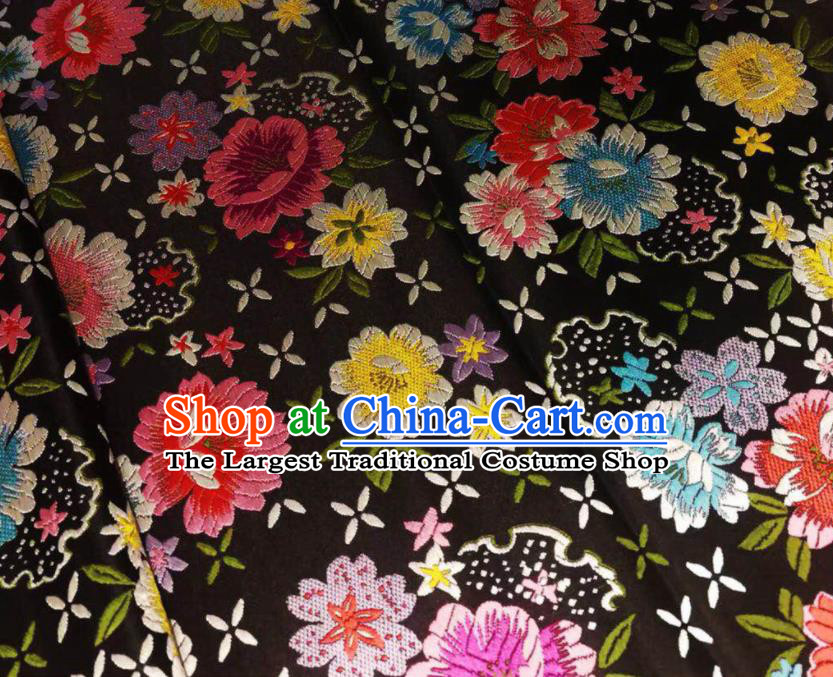 Chinese Classical Beautiful Flowers Pattern Design Black Brocade Fabric Asian Traditional Satin Silk Material