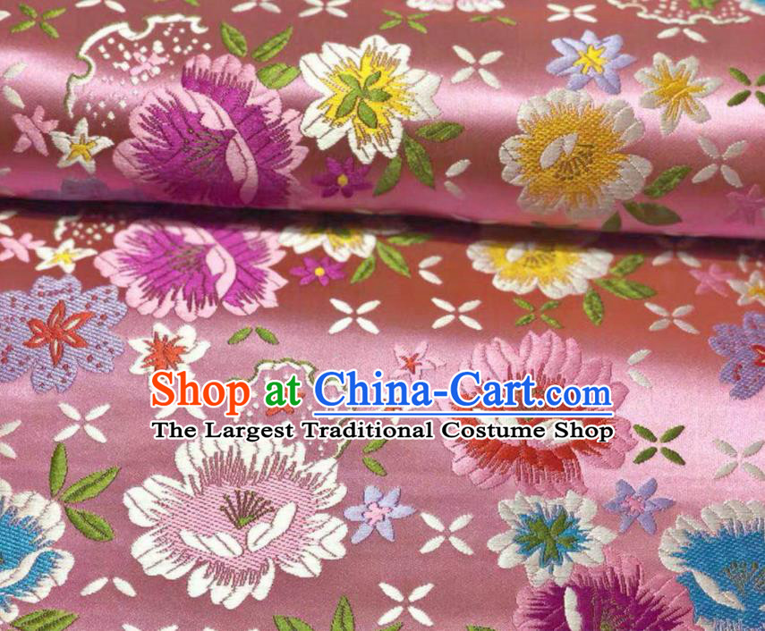 Chinese Classical Beautiful Flowers Pattern Design Pink Brocade Fabric Asian Traditional Satin Silk Material