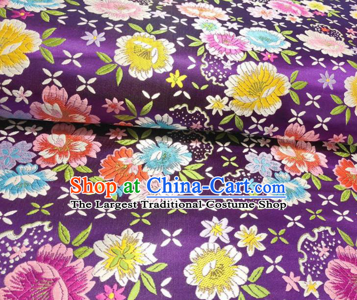 Chinese Classical Beautiful Flowers Pattern Design Purple Brocade Fabric Asian Traditional Satin Silk Material