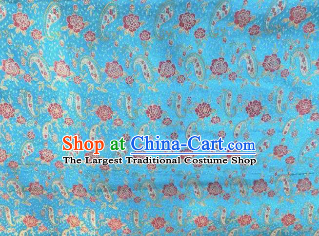 Chinese Classical Loquat Flower Pattern Design Blue Brocade Fabric Asian Traditional Satin Silk Material