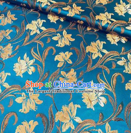 Chinese Classical Timbo Flowers Pattern Design Blue Brocade Fabric Asian Traditional Satin Silk Material