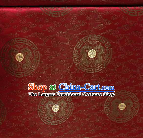 Chinese Royal Round Dragon Pattern Design Purplish Red Brocade Fabric Asian Traditional Satin Silk Material