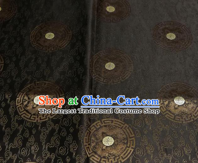 Chinese Royal Round Dragon Pattern Design Black Brocade Fabric Asian Traditional Satin Silk Material