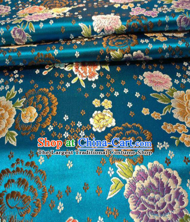 Chinese Classical Embroidered Peony Pattern Design Lake Blue Brocade Fabric Asian Traditional Satin Silk Material