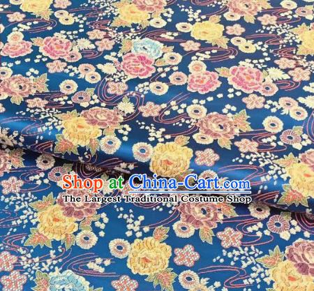 Chinese Classical Peony Plum Pattern Design Lake Blue Brocade Fabric Asian Traditional Satin Silk Material
