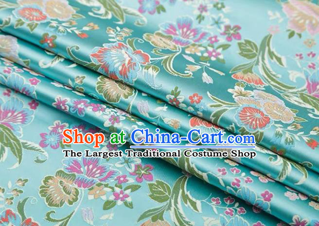 Chinese Classical Flourish Flowers Pattern Design Light Blue Brocade Fabric Asian Traditional Satin Silk Material