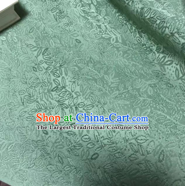 Chinese Classical Grass Pattern Design Lake Blue Silk Fabric Asian Traditional Cheongsam Brocade Material