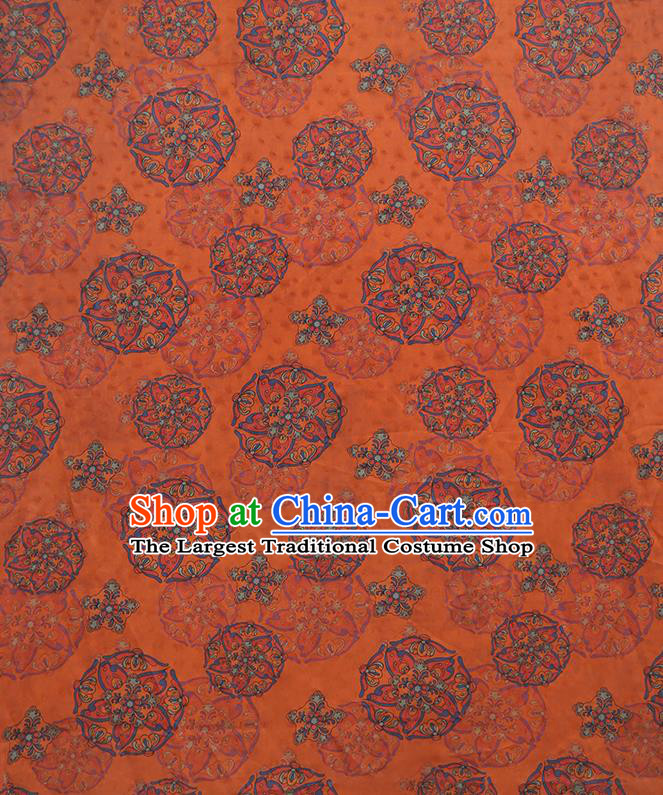 Chinese Classical Printing Pattern Design Orange Gambiered Guangdong Gauze Fabric Asian Traditional Cheongsam Silk Material