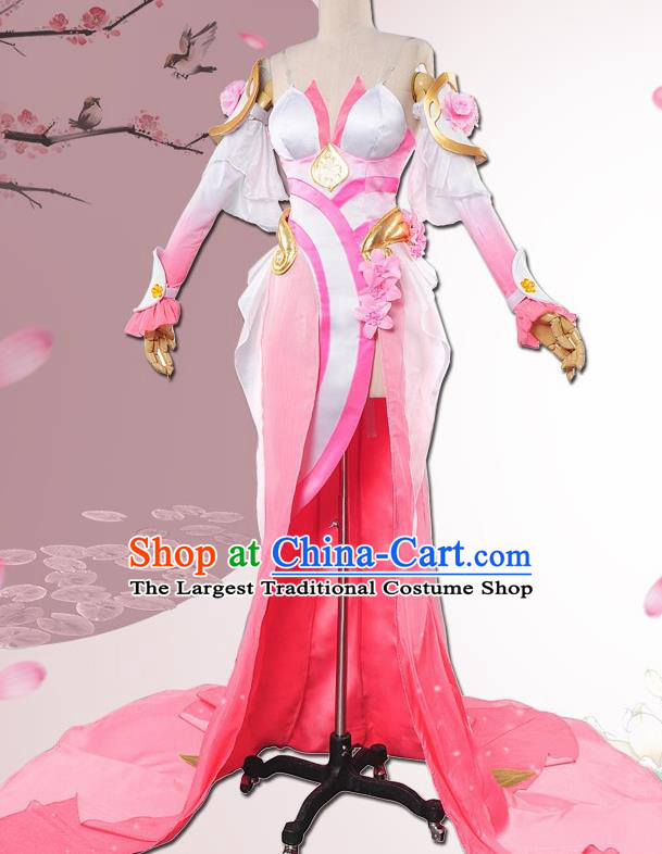 Chinese Cosplay Game Fairy Pink Dress Traditional Ancient Princess Female Swordsman Costume for Women