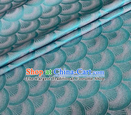 Asian Chinese Classical Scale Pattern Design Lake Blue Brocade Jacquard Fabric Traditional Cheongsam Silk Material